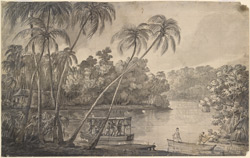 River scene, Ceylon: Lord Valentia travelling to Colombo, his palanquin loaded on three canoes. 20 December 1803